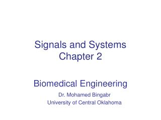 Signals and Systems Chapter  2