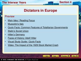 Preview Main Idea / Reading Focus Mussolini�s Italy