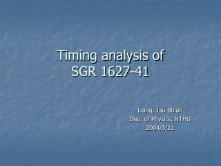 Timing analysis of  SGR 1627-41