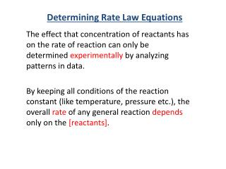 Determining Rate Law Equations