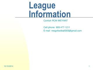 SGVFFL League Information