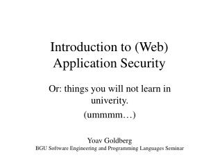 Introduction to (Web) Application Security