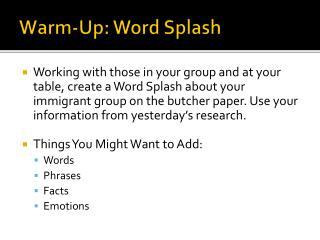 Warm-Up: Word Splash
