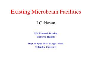 Existing Microbeam Facilities