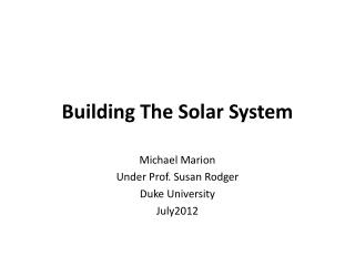 Building The Solar System