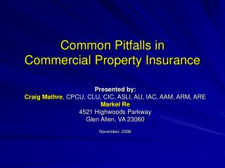 Common Pitfalls in  Commercial Property Insurance
