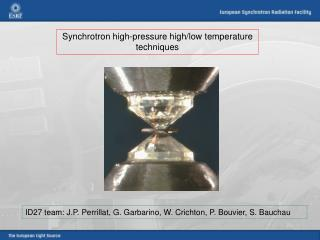 Synchrotron high-pressure high/low temperature techniques