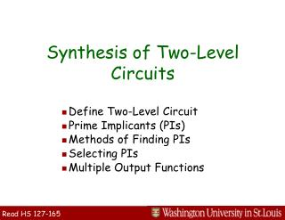 Synthesis of Two-Level Circuits