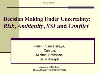 Decision Making Under Uncertainty: Risk ,  Ambiguity ,  SSI  and  Conflict