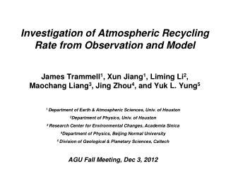 1  Department of Earth & Atmospheric Sciences, Univ. of Houston