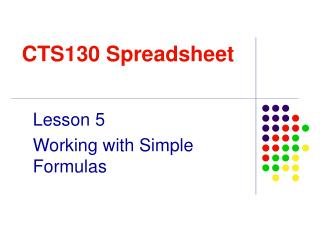 CTS130 Spreadsheet