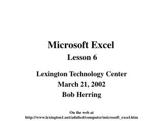Microsoft Excel Lesson 6