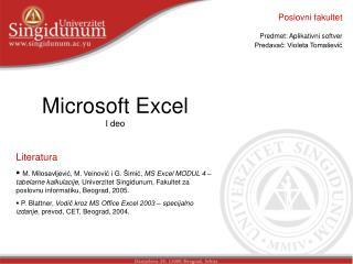 Microsoft Excel I  deo Literatura