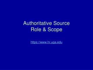 Authoritative Source Role & Scope
