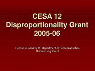 CESA 12 Disproportionality Grant 2005-06