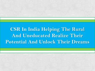 THE IMPACT OF CSR FOUNDATIONS IN INDIA