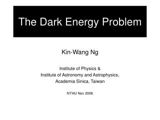The Dark Energy Problem