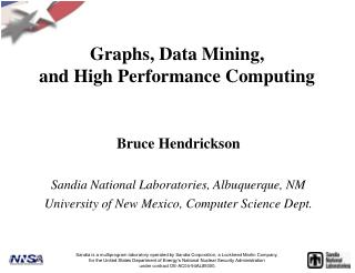 Graphs, Data Mining, and High Performance Computing