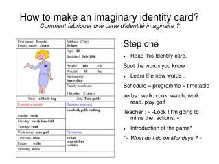 How to make an imaginary identity card? Comment fabriquer une carte d'identité imaginaire?