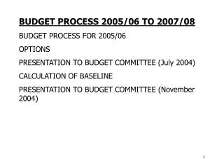 BUDGET PROCESS 2005/06 TO 2007/08 BUDGET PROCESS FOR 2005/06 OPTIONS