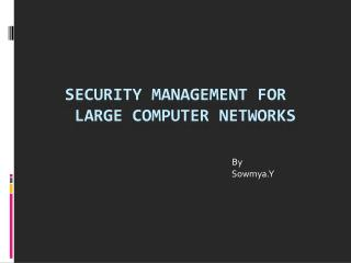 Security Management for  Large Computer Networks