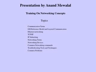 Training On Networking Concepts