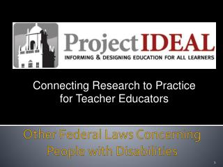 Other Federal Laws Concerning People with Disabilities
