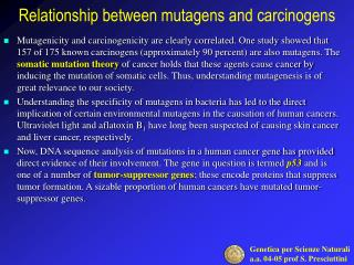 Relation ship  between mutagens and carcinogens