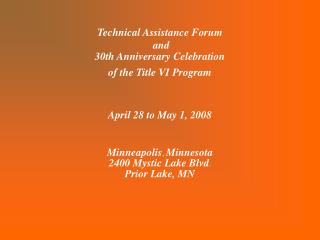 Technical Assistance Forum  and