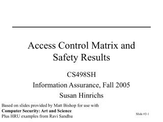 Access Control Matrix and Safety Results