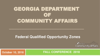 Georgia Department of Community Affairs  Opportunity Zone Job Tax Credits