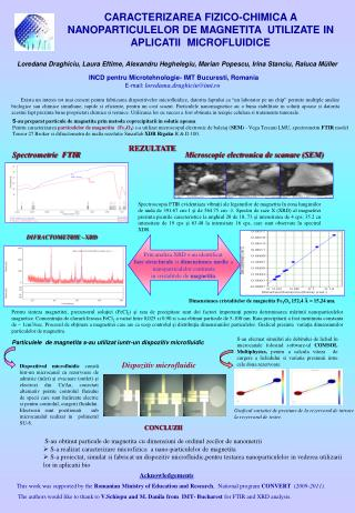 INCD pentru Microtehnologie- IMT Bucuresti, Romania E-mail:  loredama.draghiciu@imt.ro