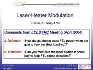 Comments from  LCLS FAC  Meeting (April 2004):