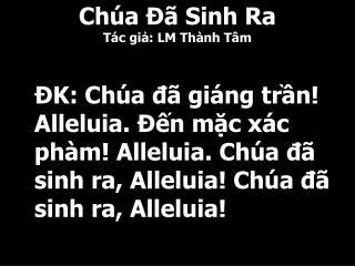 Ch�a ?� Sinh Ra T�c gi?: LM Th�nh T�m
