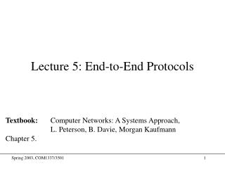 Lecture 5: End-to-End Protocols