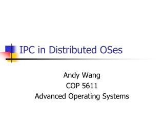 IPC in Distributed OSes