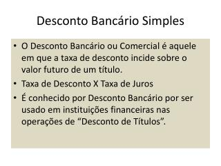 Desconto Banc�rio Simples