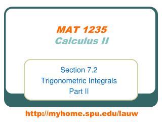 MAT 1235 Calculus II
