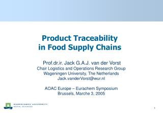 Product Traceability  in Food Supply Chains