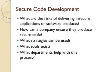 Secure Code Development