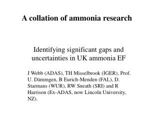 A collation of ammonia research