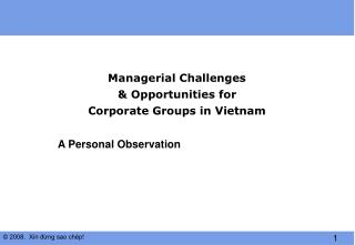 Managerial Challenges  & Opportunities for  Corporate Groups in Vietnam