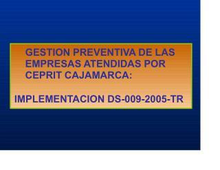 GESTION PREVENTIVA DE LAS EMPRESAS ATENDIDAS POR CEPRIT CAJAMARCA: