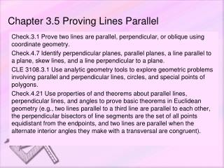 Chapter 3.5 Proving Lines Parallel