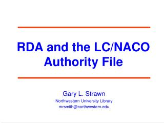 RDA and the LC/NACO Authority File