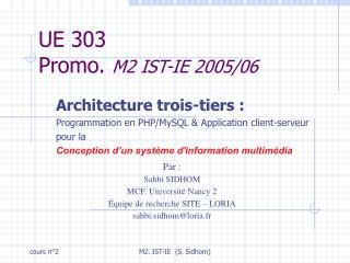 UE 303  Promo.  M2 IST-IE 2005/06
