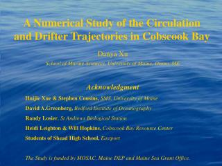 A Numerical Study of the Circulation and Drifter Trajectories in Cobscook Bay