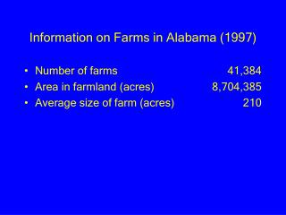 Information on Farms in Alabama (1997)