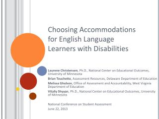 Choosing Accommodations for English Language Learners with Disabilities