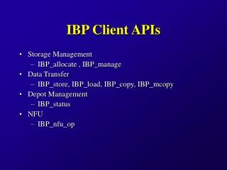 IBP Client APIs